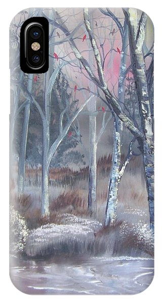 IPhone Case featuring the painting Winter Cardinals by Deleas Kilgore