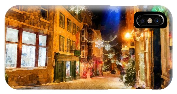 Quebec City iPhone Case - Winter Carnival Old Quebec City Lower Town by Edward Fielding