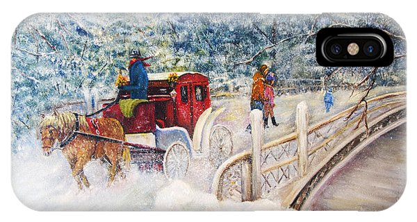 Winter Carriage In Central Park IPhone Case