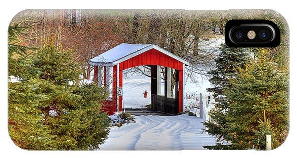 Covered Bridge iPhone Case - Winter Crossing by Evelina Kremsdorf