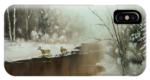 Winter Deer Run IPhone Case