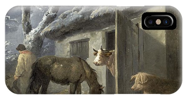 Barn Snow iPhone Case - Winter Farmyard by George Morland