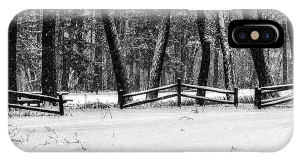 Winter Fences In Black And White  IPhone Case