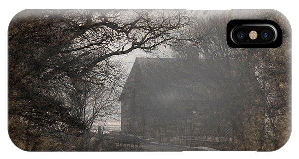 Winter Foggy Countryside Road And Barn IPhone Case