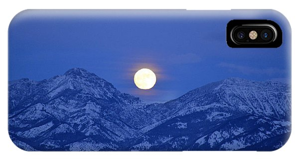Winter Full Moon Over The Rockies IPhone Case
