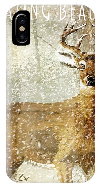 Cabin iPhone Case - Winter Game Deer by Mindy Sommers
