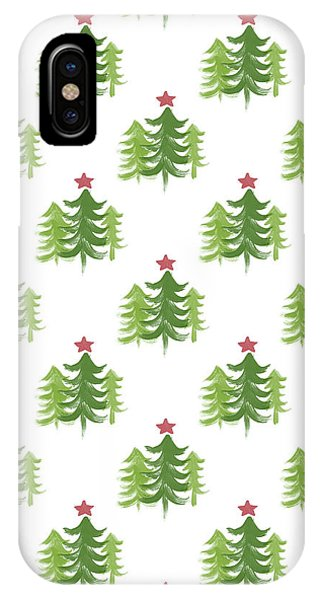 Holidays iPhone Case - Winter Holiday Trees 2- Art By Linda Woods by Linda Woods