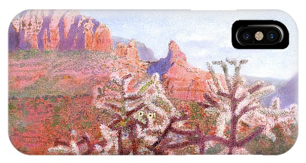 IPhone Case featuring the painting Winter In Sedona, Arizona by Nancy Lee Moran