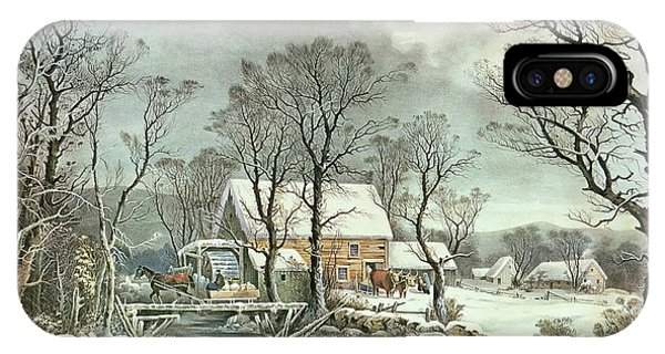 Ice iPhone Case - Winter In The Country - The Old Grist Mill by Currier and Ives