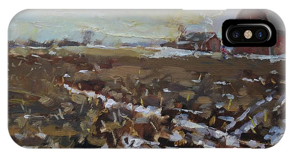 Barn Snow iPhone Case - Winter In The Farm by Ylli Haruni
