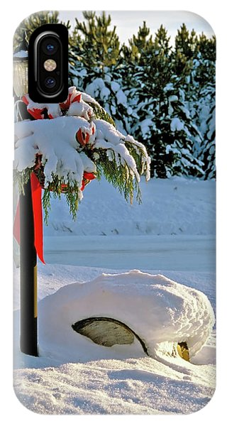Winter Lamp Post In The Snow With Christmas Bough IPhone Case