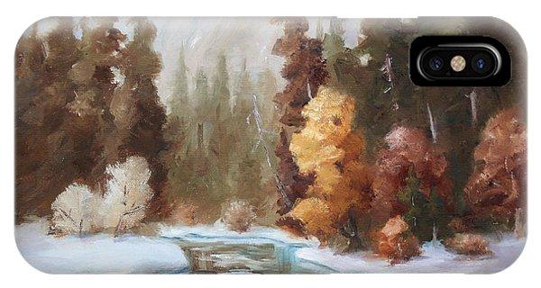 Winter Landscape Original Oil Painting IPhone Case
