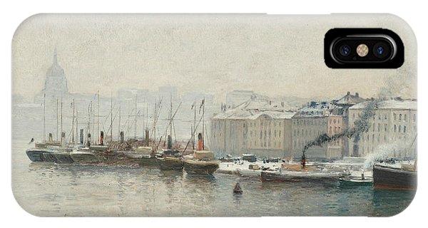 Swedish Painters iPhone Case - Winter Landscape Over Skeppsbron, Stockholm by Alfred Wahlberg