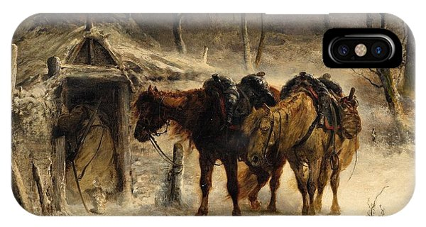 Winter Landscape With A Huntsman And Horses IPhone Case