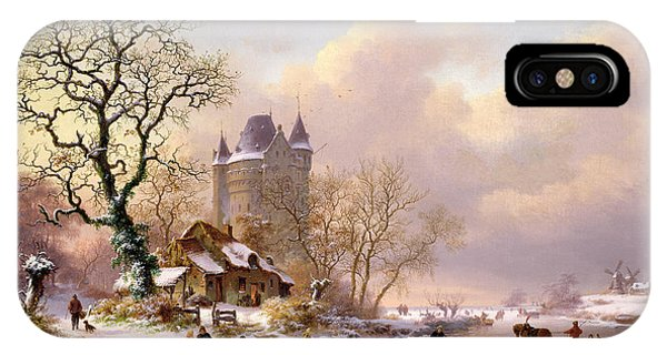 Fantasy iPhone X Case - Winter Landscape With Castle by Frederick Marianus Kruseman
