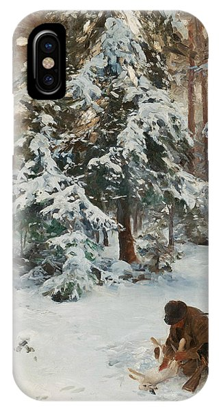 Swedish Painters iPhone Case - Winter Landscape With Hunters And Dogs by Bruno Liljefors
