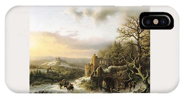 Winter Landscape With Peasants Gathering Wood IPhone Case
