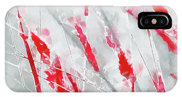Winter Moods 1 - Cardinal Red And Icy Gray Nature Abstract IPhone Case
