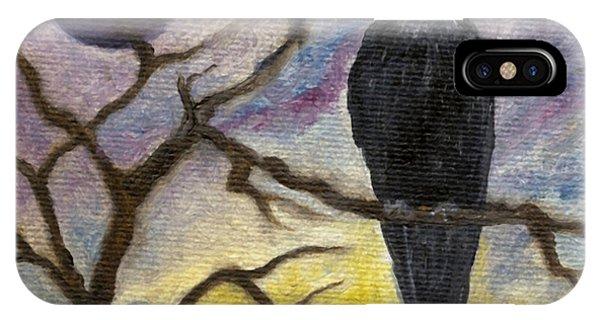 Winter Moon Raven IPhone Case