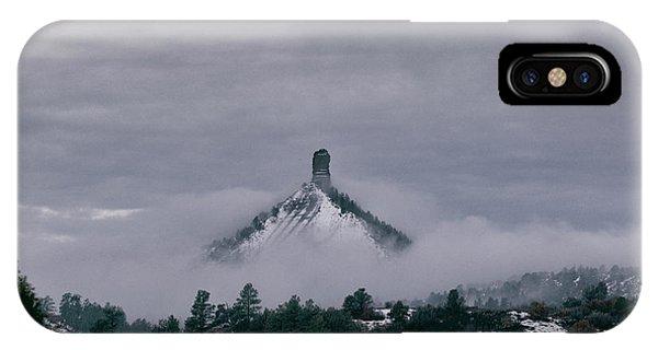 Winter Morning Fog Envelops Chimney Rock IPhone Case