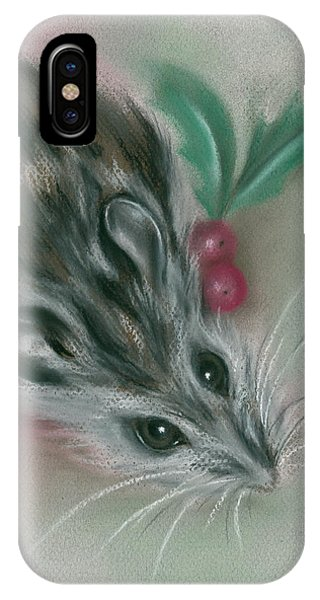 IPhone Case featuring the pastel Winter Mouse With Holly by MM Anderson