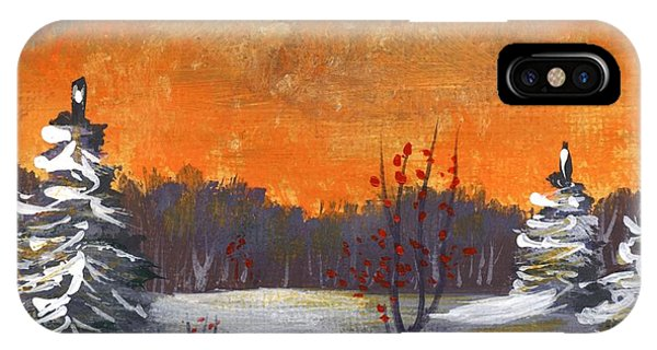 IPhone Case featuring the painting Winter Nightfall #1 by Anastasiya Malakhova