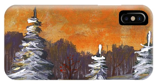 IPhone Case featuring the painting Winter Nightfall #2 by Anastasiya Malakhova