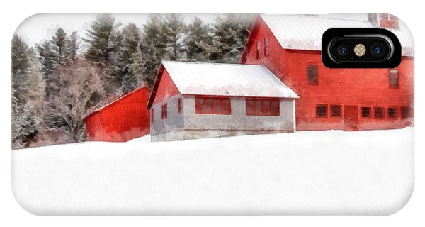 New England Barn iPhone Case - Winter On The Farm Enfield by Edward Fielding