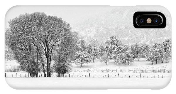 IPhone Case featuring the photograph Winter Pasture In Black And White by Denise Bush