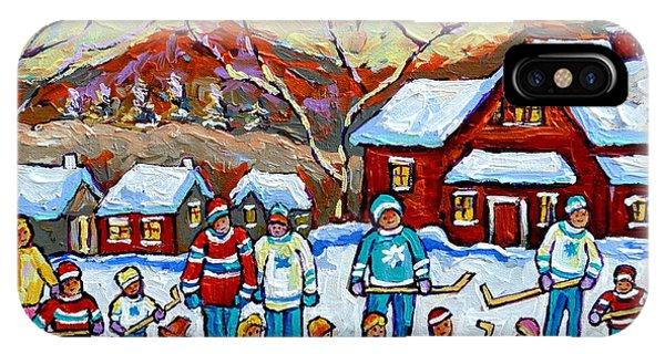 Winter Playground Painting By Canadian Hockey Art Specialist Carole Spandau Skating Sledding Snowman IPhone Case