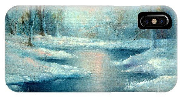 Winter Pond Phone Case by Sally Seago