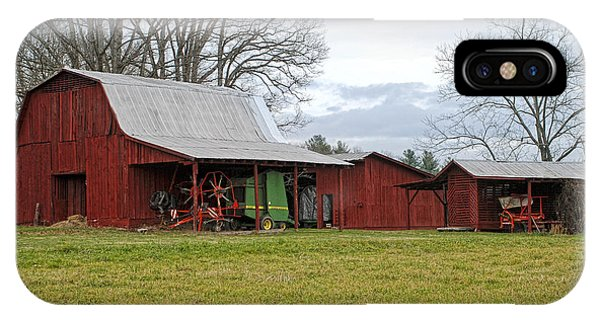 Winter Red Barn IPhone Case