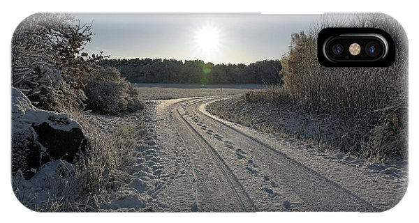 IPhone Case featuring the pyrography Winter Road by Magnus Haellquist