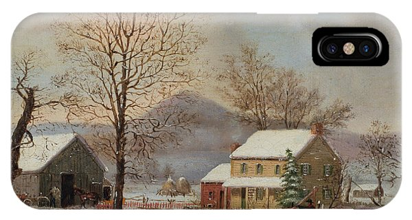 Barn Snow iPhone Case - Winter Scene by George Henry Durrie