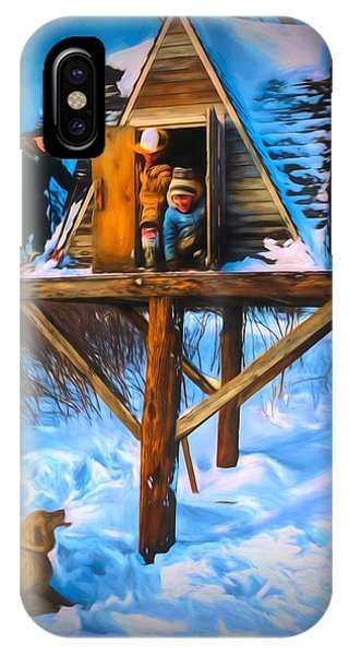 Winter Scene Three Kids And Dog Playing In A Treehouse IPhone Case