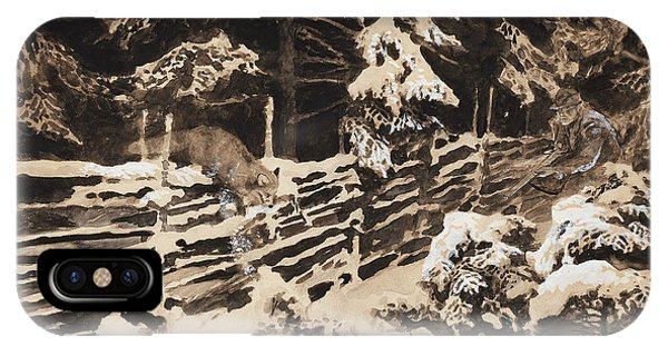 Swedish Painters iPhone Case - Winter Scene With Hunter And Fox By Fence by Bruno Liljefors