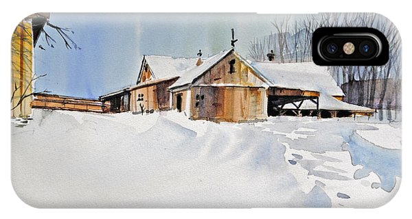 Barn Snow iPhone Case - Winter Shadows by P Anthony Visco
