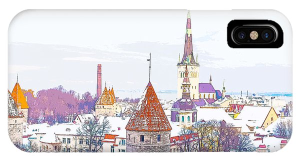 Winter Skyline Of Tallinn Estonia IPhone Case