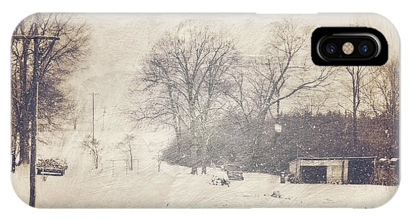 Winter Snow Storm At The Farm IPhone Case