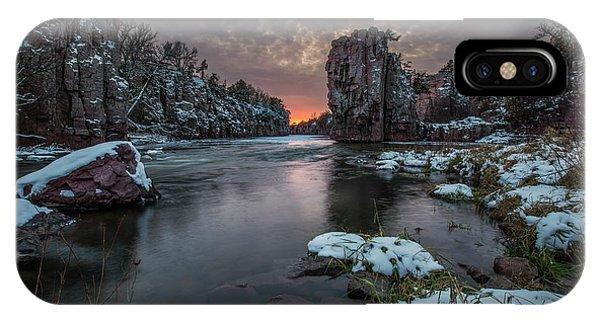 Split Rock iPhone Case - Winter Storm  by Aaron J Groen