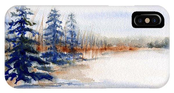 Winter Storm Watercolor Landscape IPhone Case