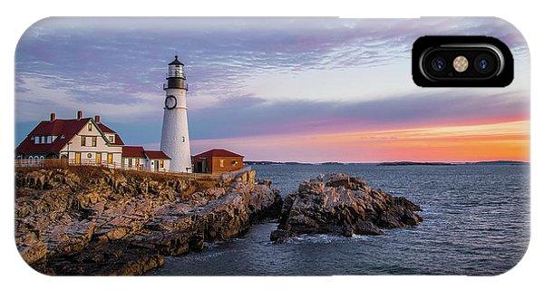 Winter Sunrise Over Portland Head Light IPhone Case