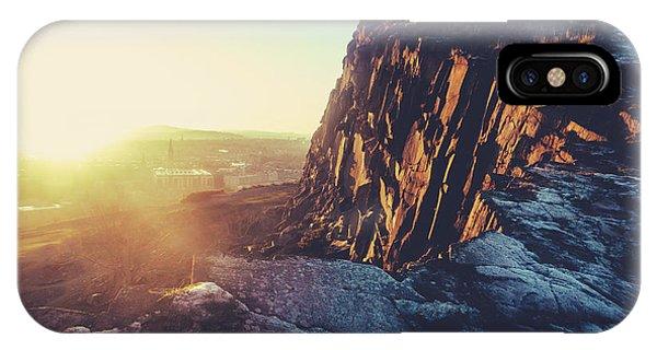 Beautiful Scotland iPhone Case - Winter Sunset In Edinburgh by Mr Doomits