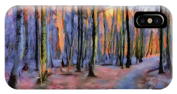 Winter Sunset In The Beech Wood IPhone Case