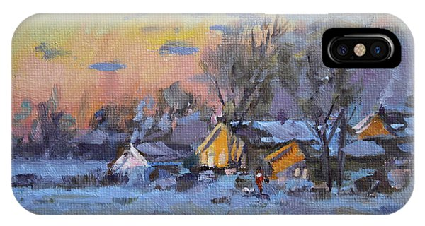 Barn Snow iPhone Case - Winter Sunset In The Farm by Ylli Haruni