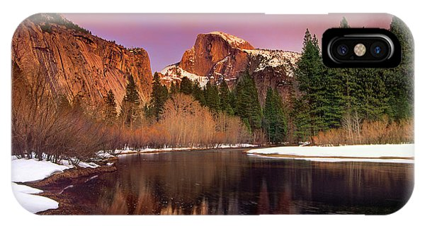 Winter Sunset Lights Up Half Dome Yosemite National Park IPhone Case