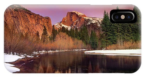 IPhone Case featuring the photograph Winter Sunset Lights Up Half Dome Yosemite National Park by Dave Welling