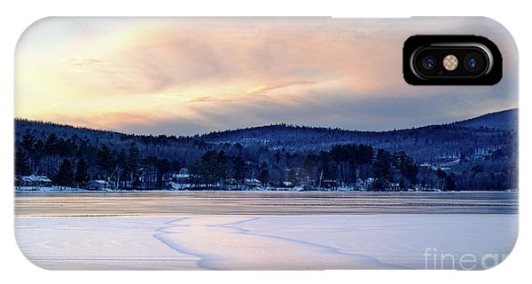 Winter Sunset On Wilson Lake In Wilton Me  -78091-78092 IPhone Case