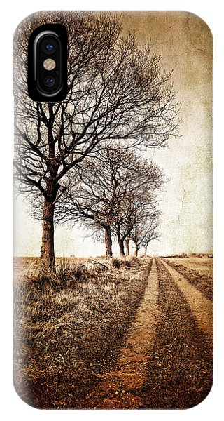 Rural Scenes iPhone Case - Winter Track With Trees by Meirion Matthias