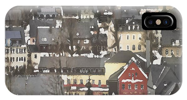 Winter Village With Red House IPhone Case